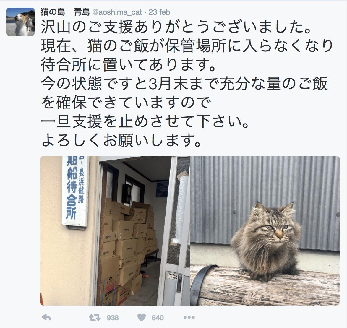 Aoshima riceve pappe dopo un tweet