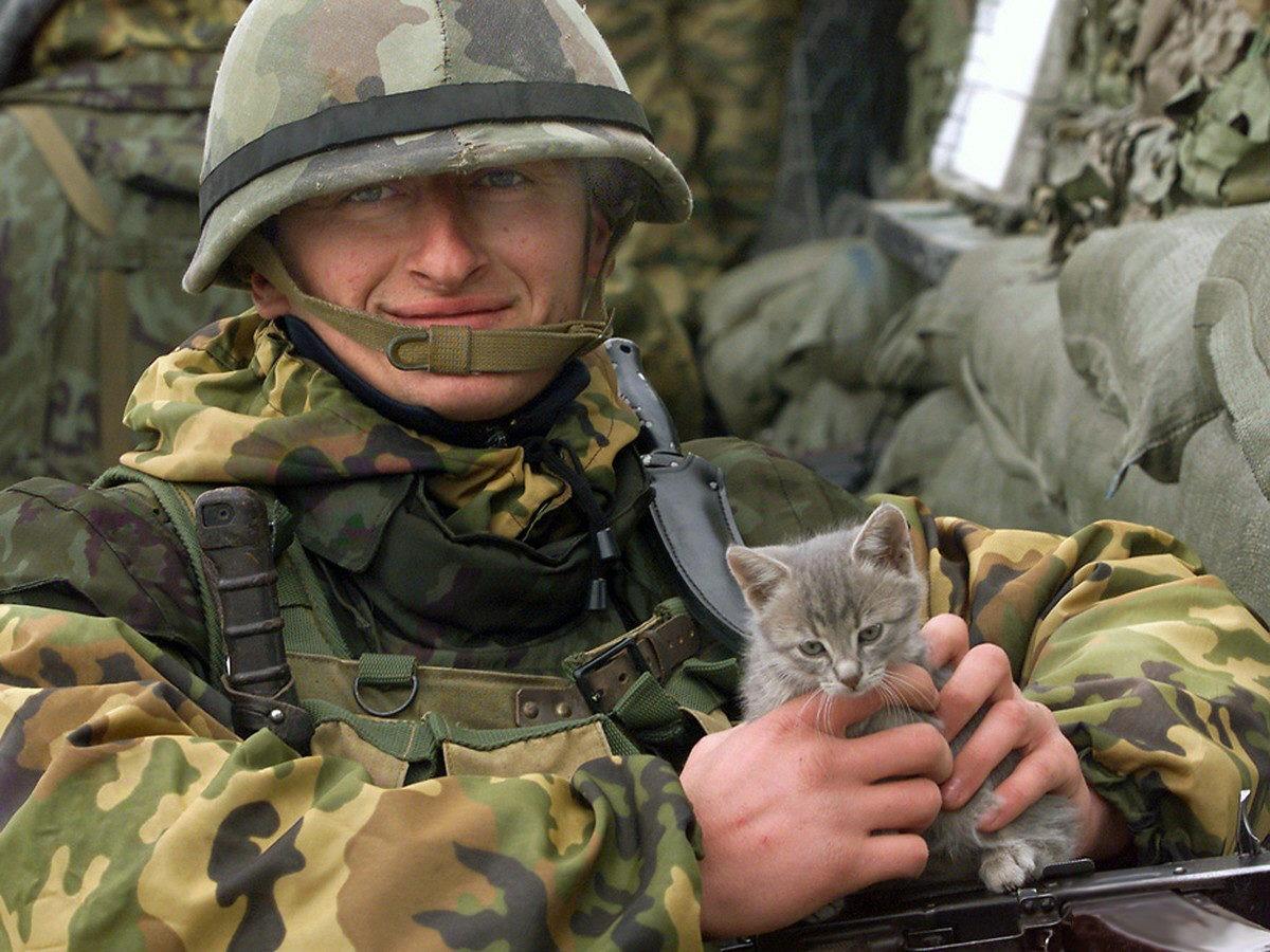 Soldato del Kosovo con gatto