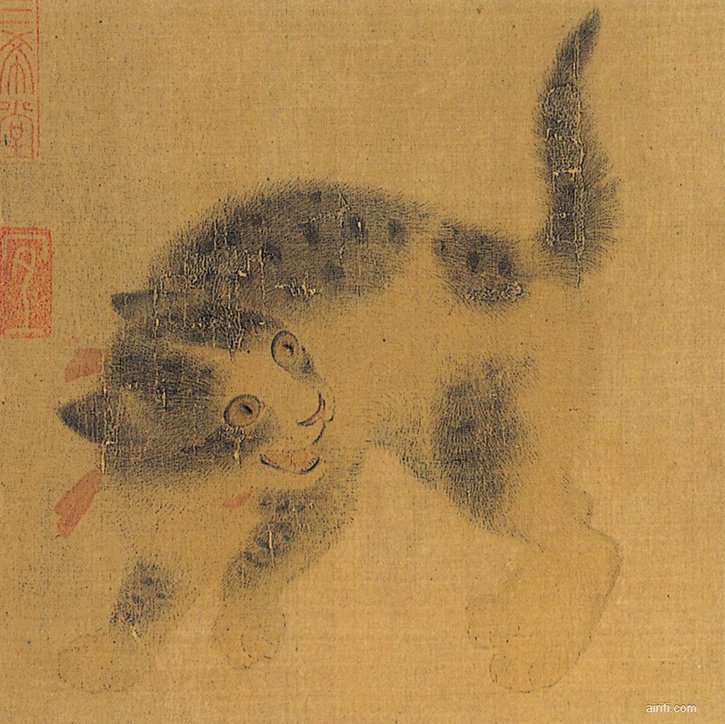 Antica illustrazione cinese raffigurante un gatto