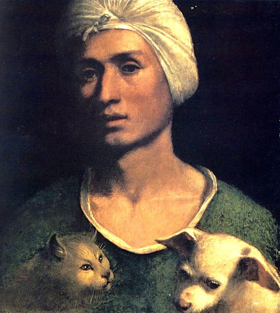 Dosso Dossi, Ritratto di uomo con gatto e cane