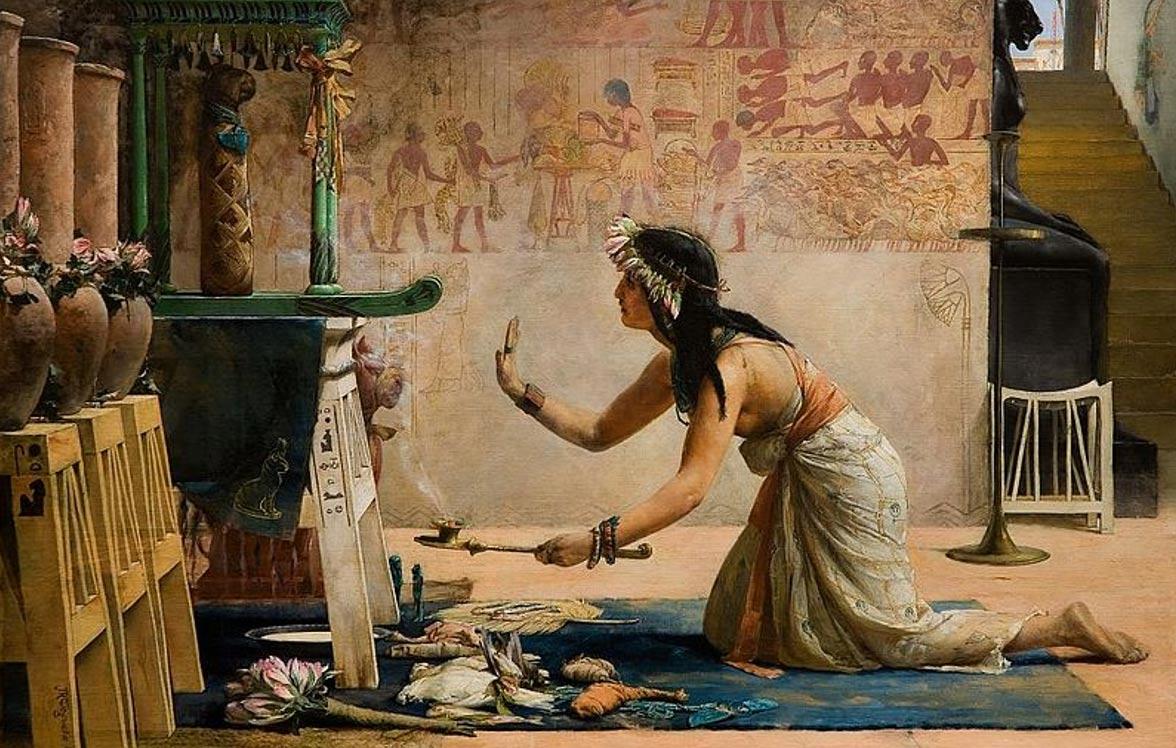 Venerazione di una mummia di gatto